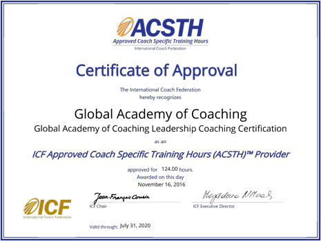 Global Academy of Coaching - ACSTH Certificate of Approval
